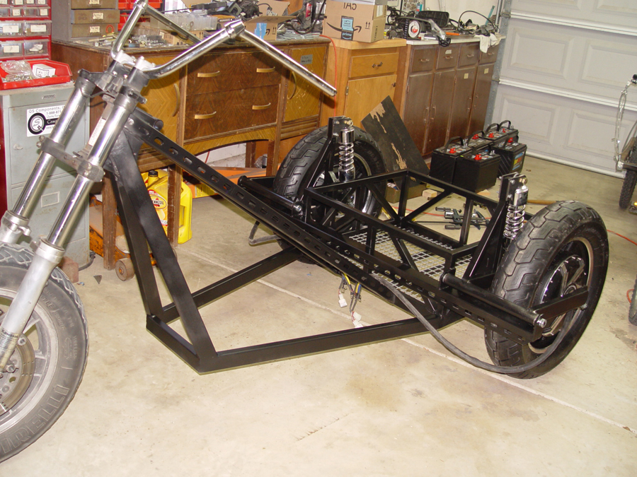 electric chopper trike under construction
