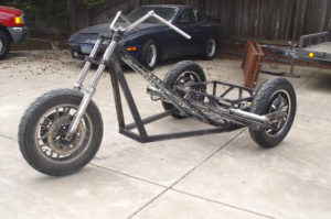 Photo of side view electric chopper trike
