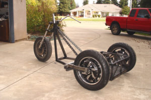 Photo of rolling chopper trike left quarter view