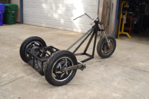 Photo of rolling chopper trike rear quarter view