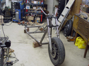 Photo of front fork mounted on chopper trike