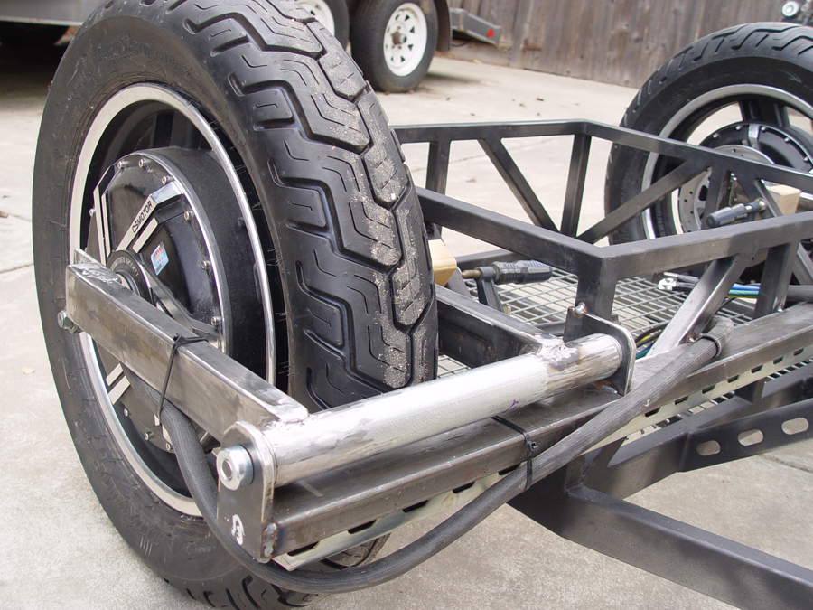 Photo of swing arm brackets welded to frame