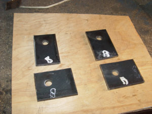Photo of swing arm mounting brackets being made