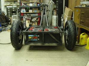 Photo of rear suspension on electric chopper trike