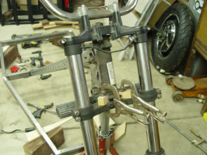 Photo of centering front fork for welding