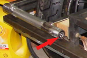 Photo of flanged bearing fitted in swing arm pivot tube
