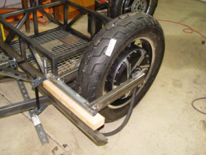 Photo of swing arm mock up on frame