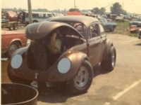 Photo of Volkswagon body over C/Altered drag racing car