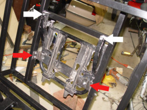 Photo of mounting bolt positions for cargo case frame